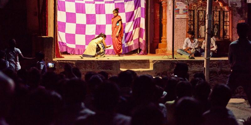 two girls performing in a play
