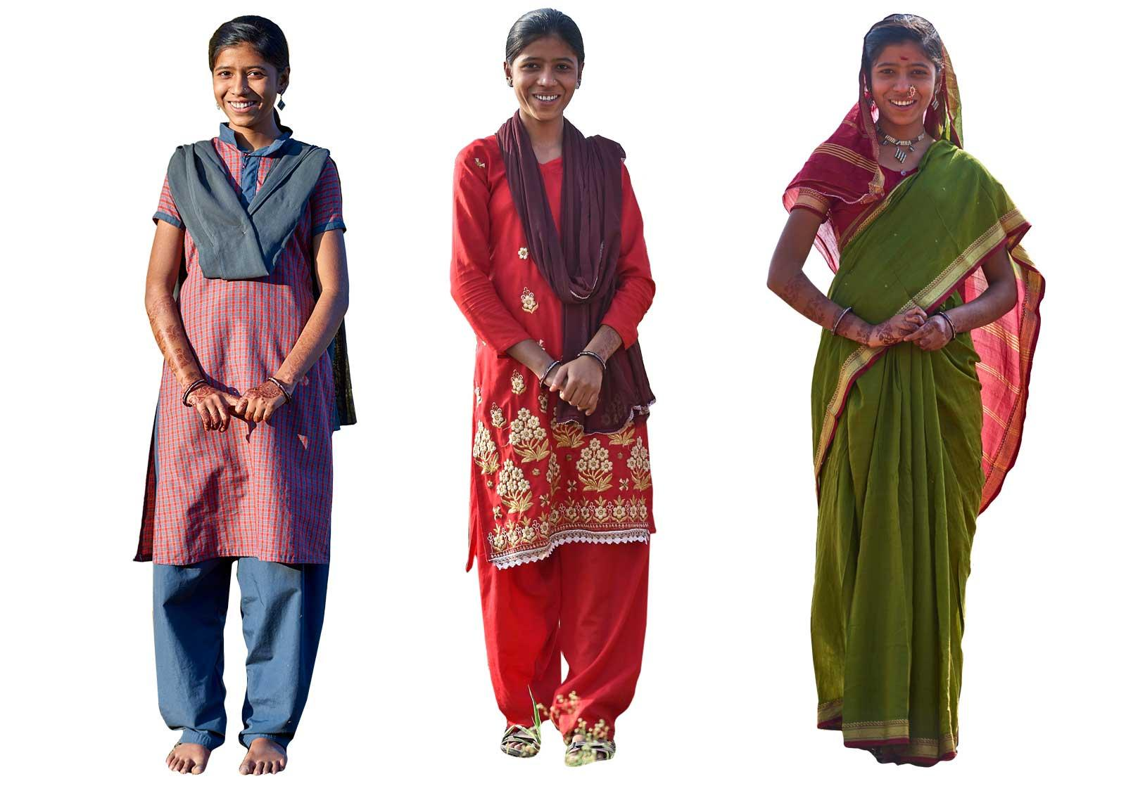 Indian girl showing three different outfits