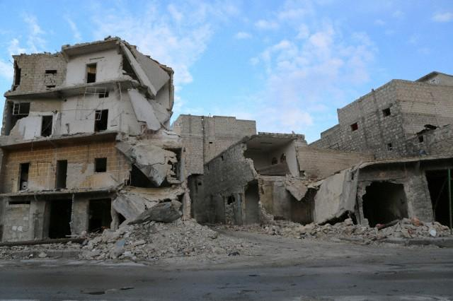 Bombed out buildings in Aleppo Syria