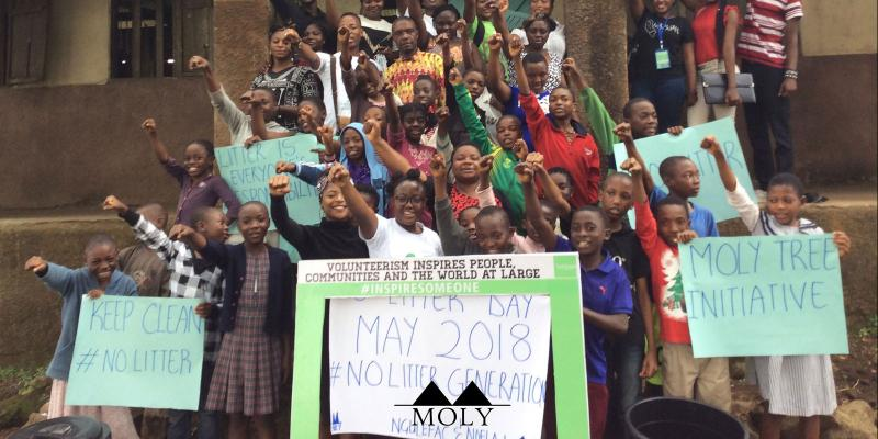 children demonstrating for a clean world