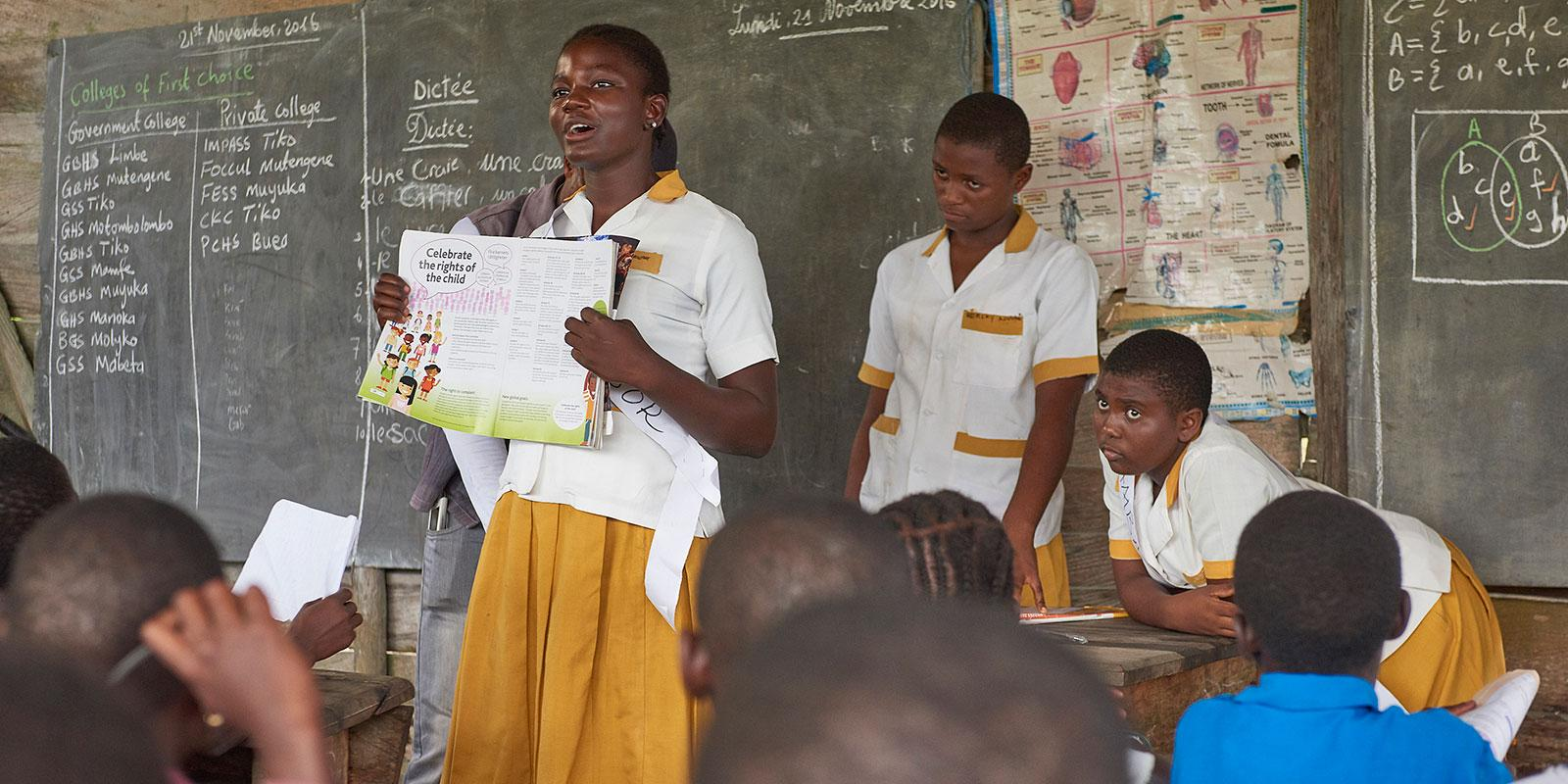 child rights ambassadors in classroom