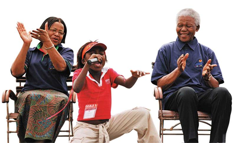 Gaba singing to Mandela