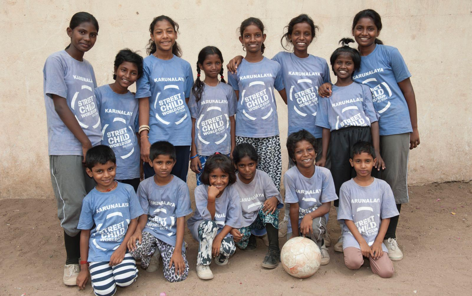 Team picture of girls playing soccer