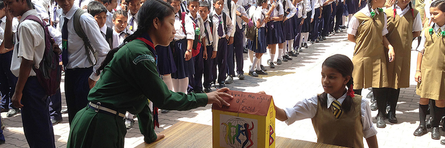 Children voting in India