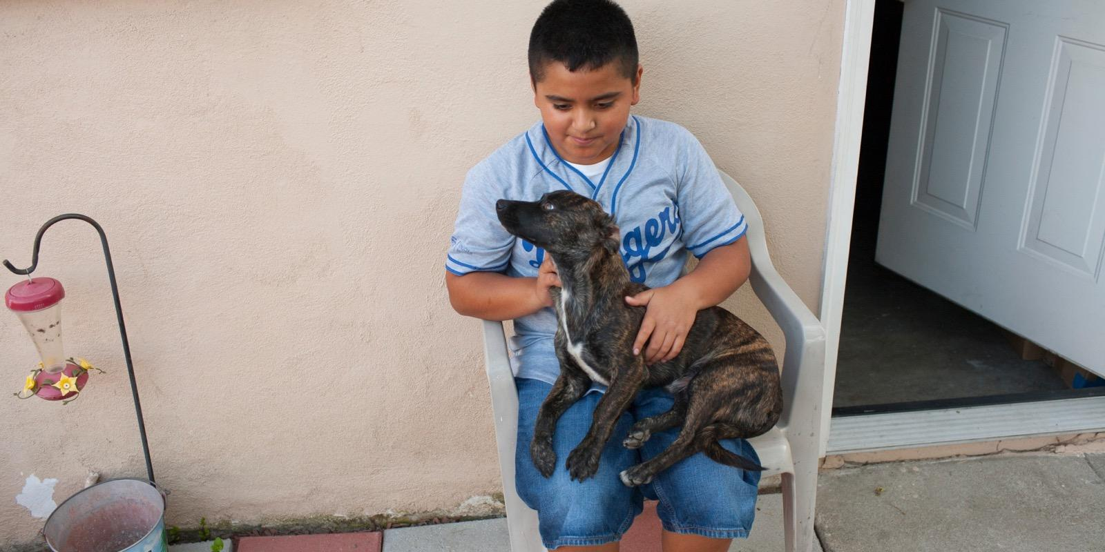 Ismael with puppy