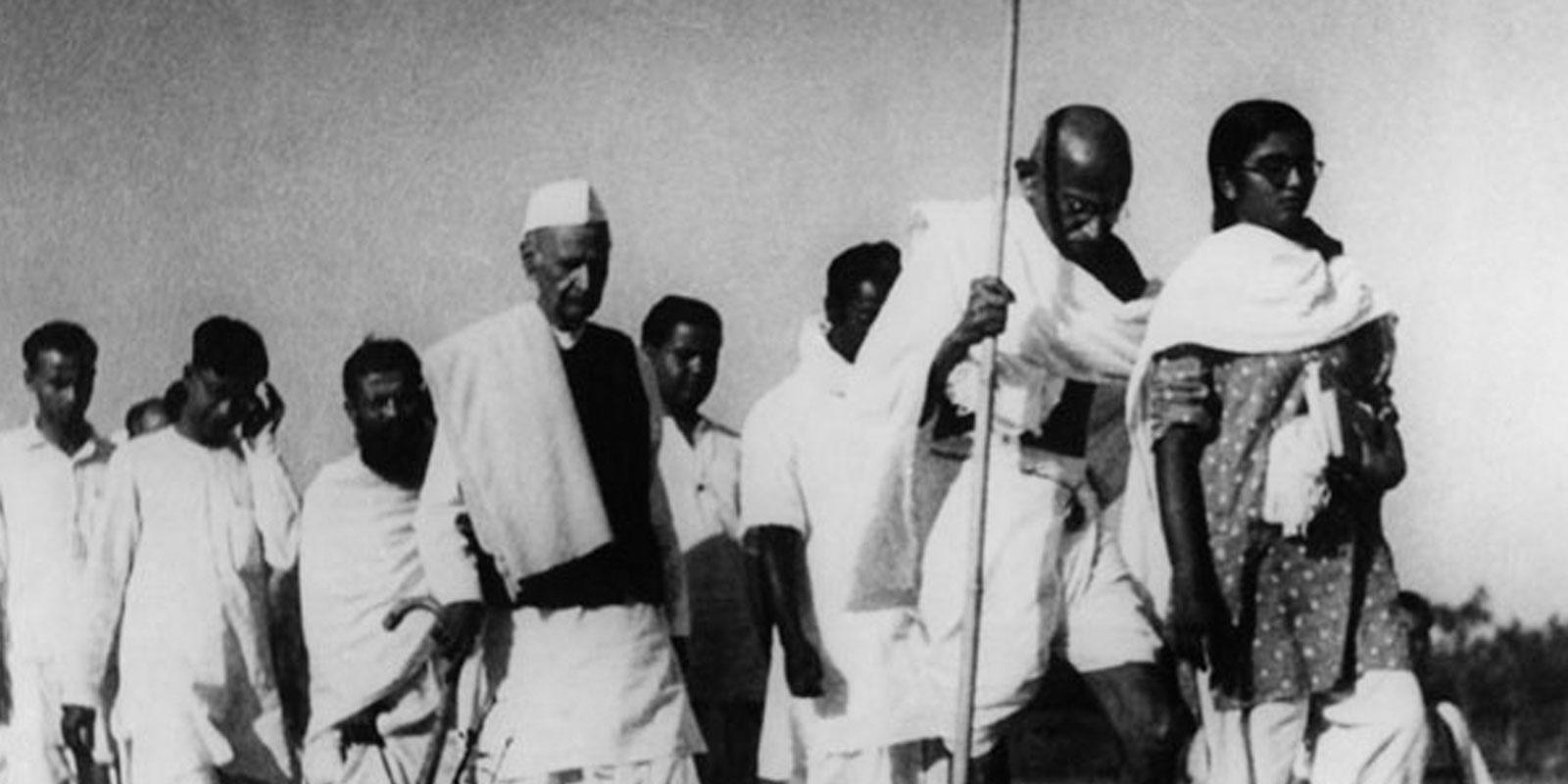 Mahatama Gandhi marching