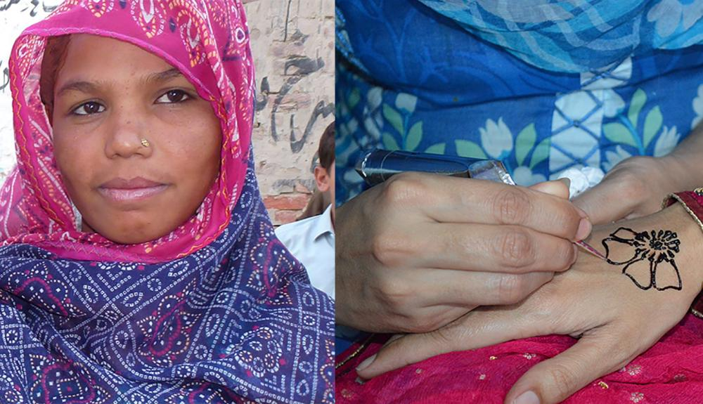 Portrait of Parveen and a close up of hennapainting on hand