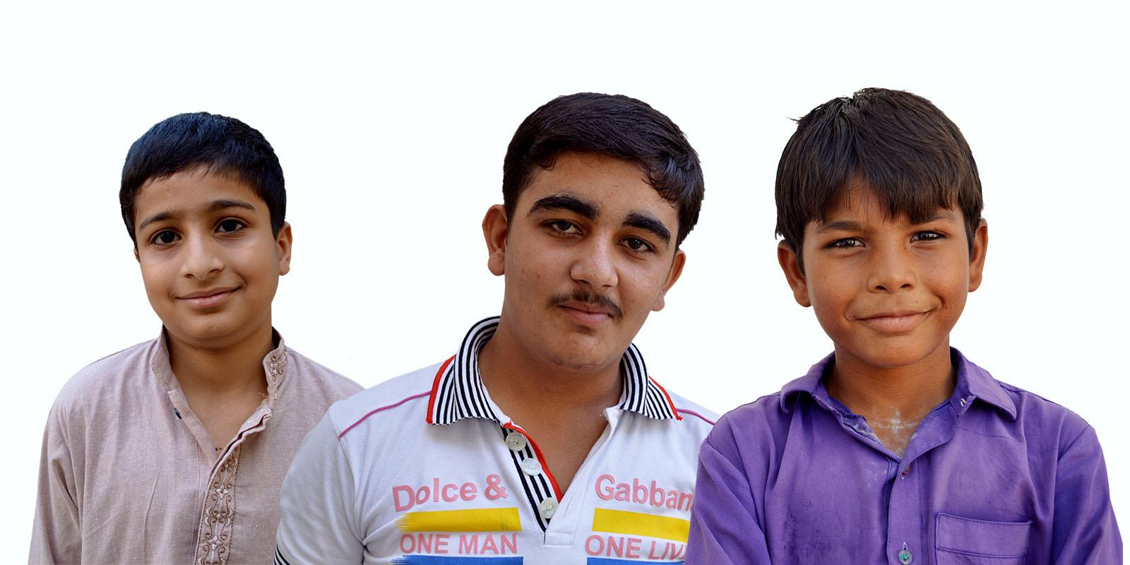 Portraits of three boys, Haseed, Ali and Baber.