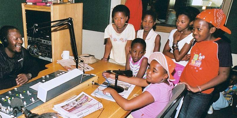 Children in a radio studio