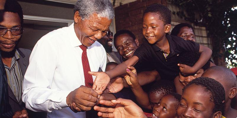 Nelson Mandela with children