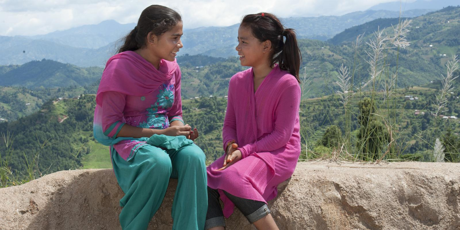 Girls talking in Nepal