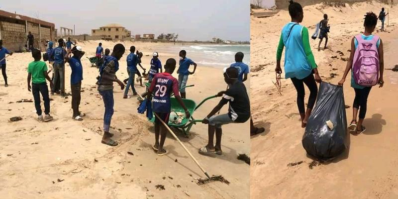Children collecting litter on beach