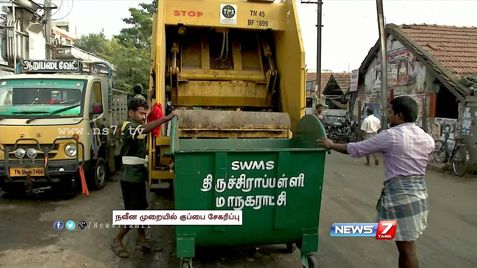 Garbage truck collecting waste in India