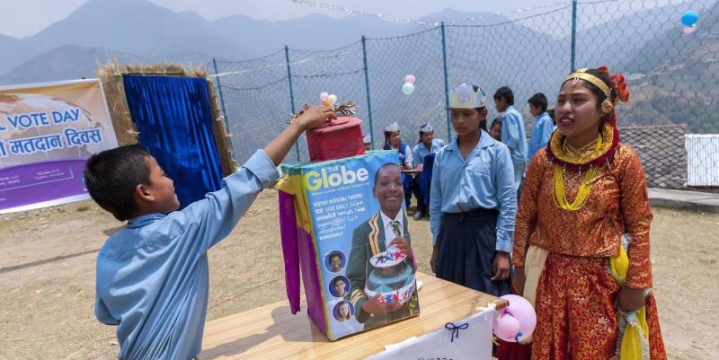 Nepali children voting